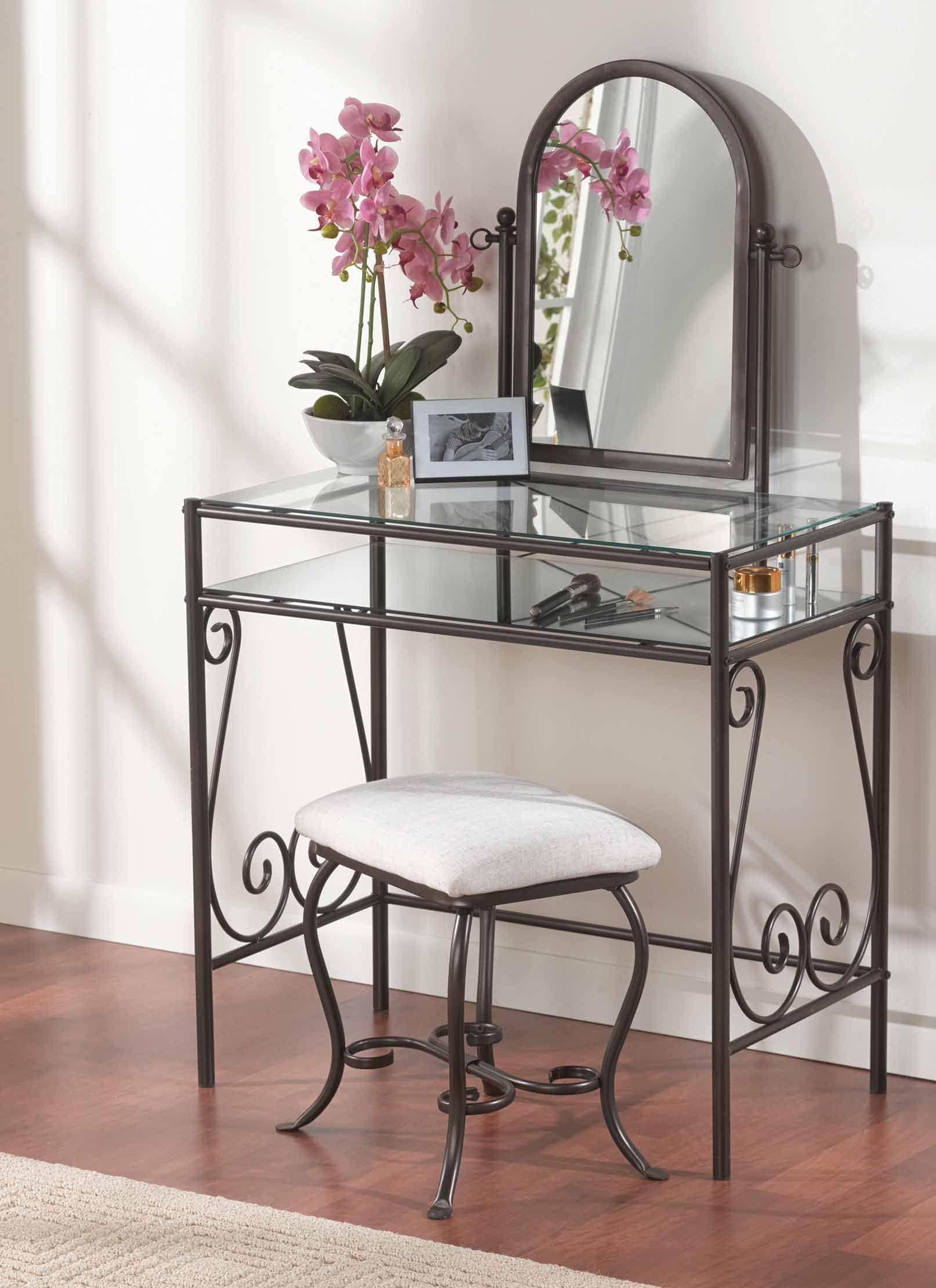 Leah Metal Vanity Set, Dark Metal in 2019 | Bedroom vanity ...