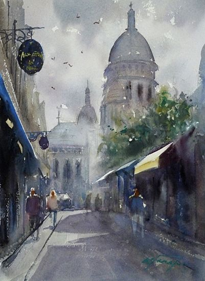 Sacre Cœur Basilica Paris Ii Watercolor On Paper 11 1 2 X 8 1 4