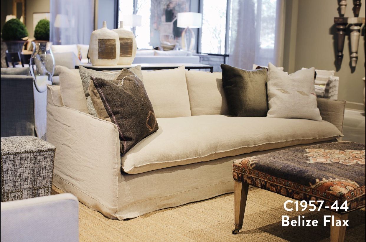 Lee Industries New C1957 44 Extra Long Slipcovered Sofa Couch