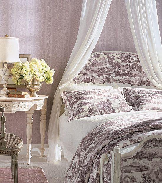 Purple Toile Bedding Bedroom Decorating Canopy Ideas