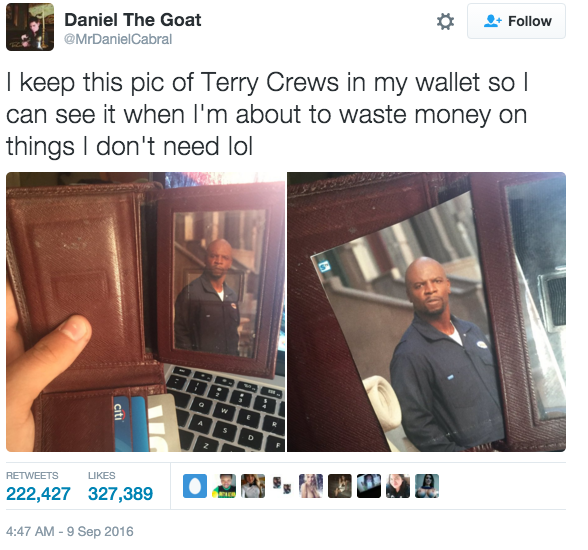 Earlier this month 19-year-old Daniel went viral for his spectacular money-saving hack inspired by the character Julius from Everybody Hates Chris. | Terry Crews Has A Picture Of Himself In His Wallet So He Can Save Money