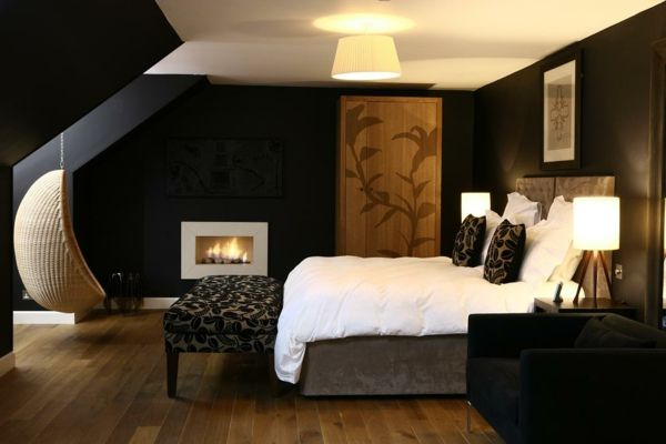 Black and white bedroom fireplace