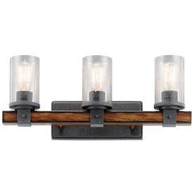 Vanity Lights Lowes Shop Kichler Barrington 3Light 9In Distressed Black And Wood