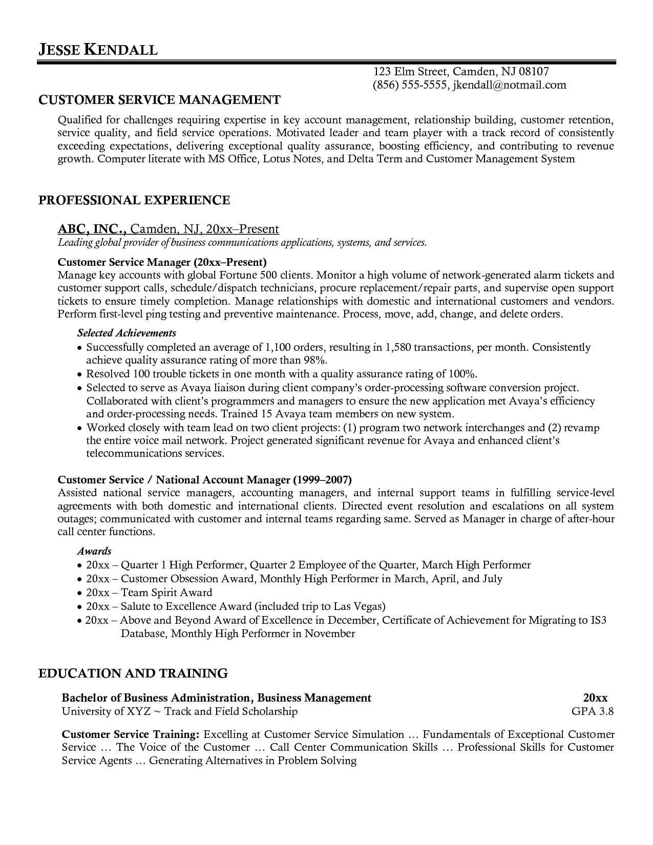 Resume Template For Customer Service Customer Service Manager Resume Http Resumecareer