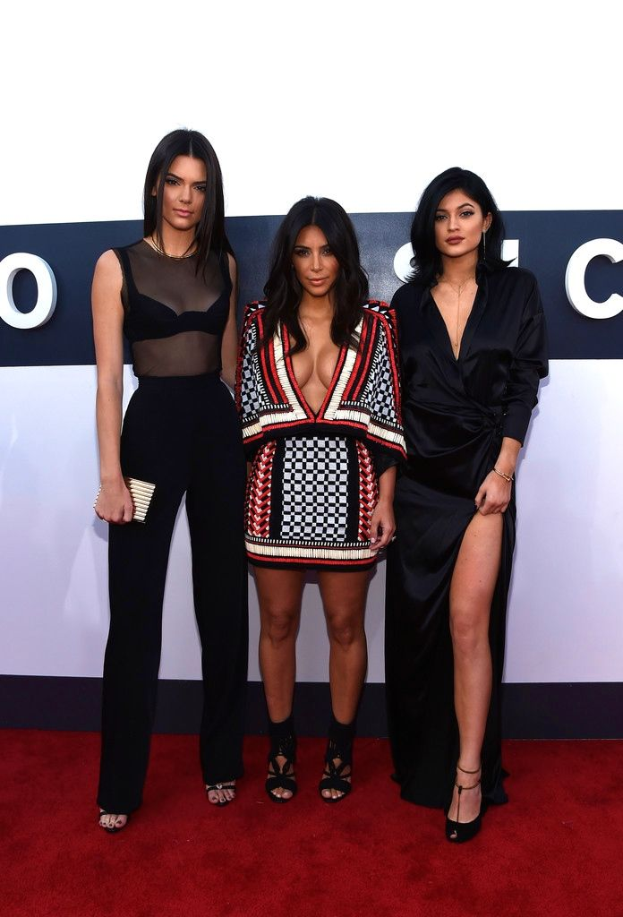 Kim Kardashian and Kendall and Kylie Jenner on the red carpet at the 2014 MTV Video Music Awards at The Forum on August 24, 2014 in Inglewood, California