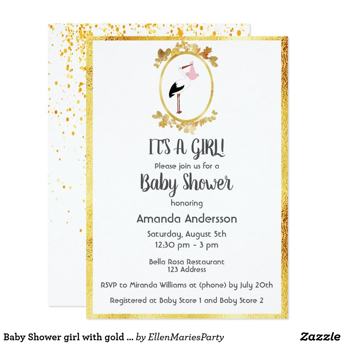 Baby Shower girl with gold frame and stork white Card | Elegant baby ...