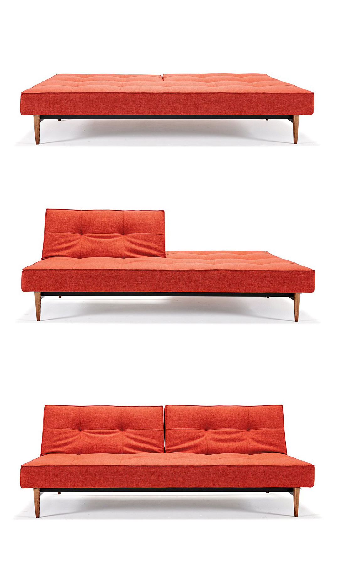 Multifunctional and completely modern, the Divi Sofa is a study in playfulness and simple, modern design. Convertible to a full-sized bed, the sofa has a 7-inch thick mattress, powder-coated metal frame, and walnut wood legs. Perfect for living rooms and guest rooms that need a hard-wearing, sophisticated, and versatile piece of furniture that's good for entertaining and for sleeping.