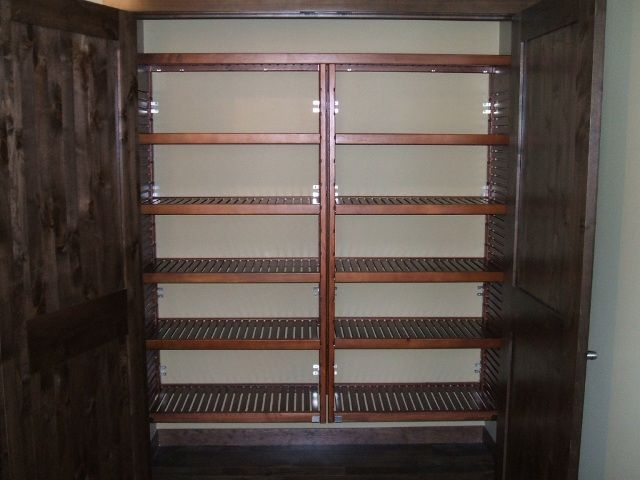John Louis Home Solid Wood Shelving Closet Design With Two Widened Towers.