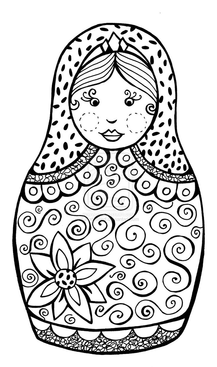 Russian Nesting Doll Coloring Page