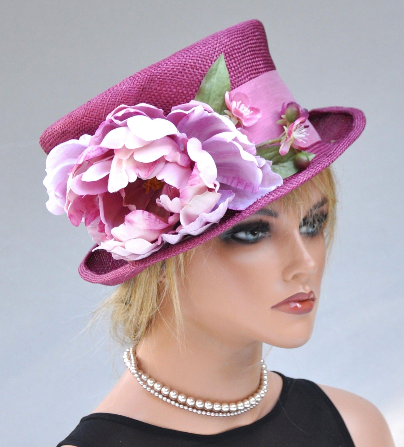 Wedding Hat Kentucky Derby Las Pink Formal Dressy Cherry Wine Ascot Royal Summer