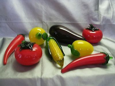 Rare Vintage 1960s Murano Style Hand Blown Cased Glass Fruits Vegetables Included With Purchase Two Lemons Vegetables Stuffed Banana Peppers Stuffed Peppers