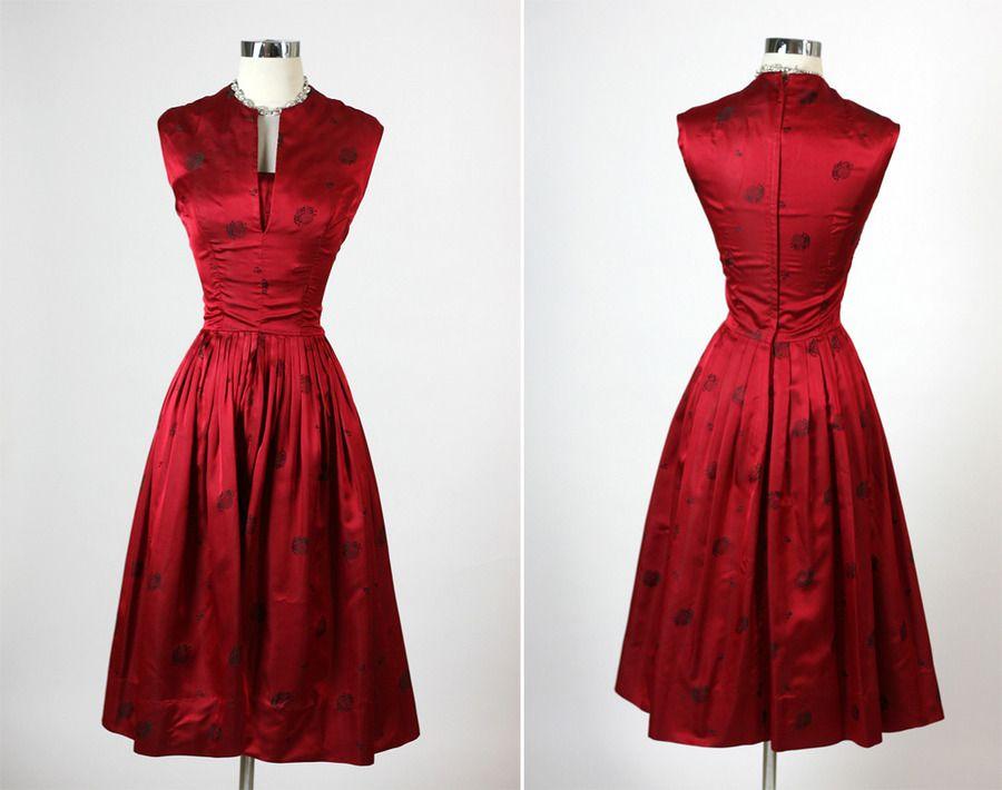 Vintage 1950s 50s Elegant Harzfeld's Red Silk Cocktail
