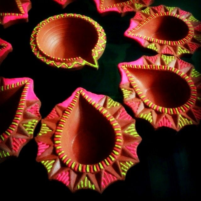 This year Diwali is all vibrant and popping with Neon.. :) Handpainted DIY
