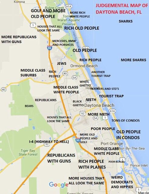 Judgmental map of Daytona Beach FL area Quite Random