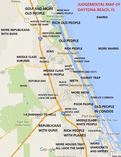 judgmental map of daytona beach fl area quite random