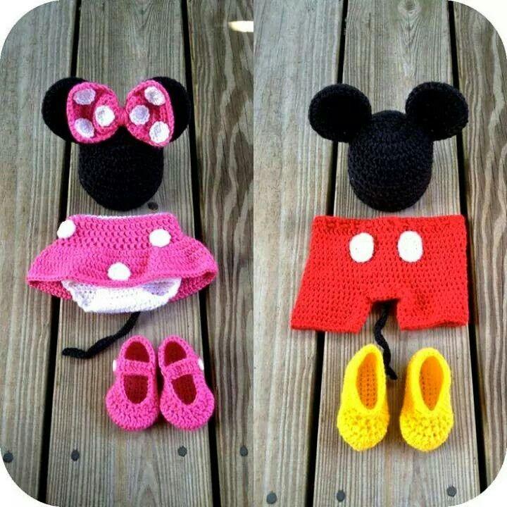 Boy & Girl Mickey & Minnie Crocheted Outfits | crochet baby gear ...