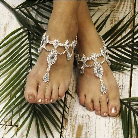 VICTORIA wedding tiara barefoot sandals silver Bridesmaid