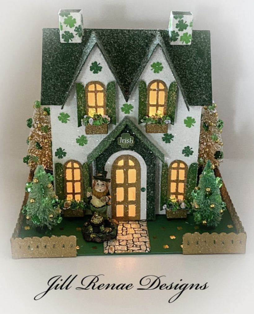 This Charming House Is Sure To Bring Lots Of Irish Cheer To Your St Patrick S Day Decor An All Hand Made Putz Glitter In 2020 Glitter Houses Irish Decor Putz Houses
