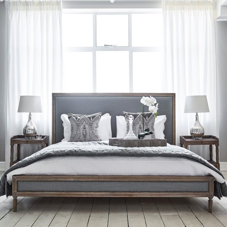 Boston Bed   Super King Size Grey Linen