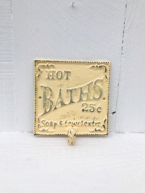 Bathroom Wall Hook / Hot Bath Sign / Yellow Bathroom Wall Decor ...