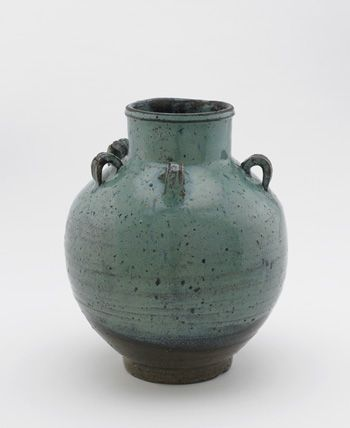 Karatsu ware tea-leaf storage jar with five loop lugs  1630-1660      Edo period