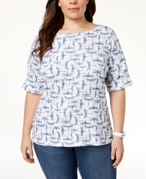 cb8b4b3b341703 Karen Scott Plus Size Cotton Printed Elbow-Sleeve Top, Created for Macy's -  White 3X