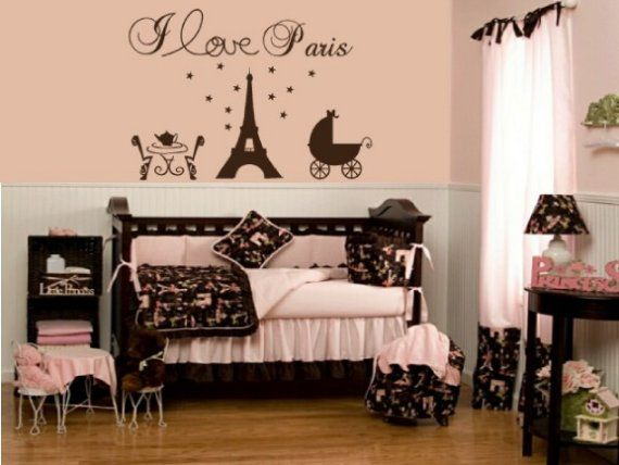 Paris Eiffel Tower Vinyl Wall Decal Like The Color Scheme And