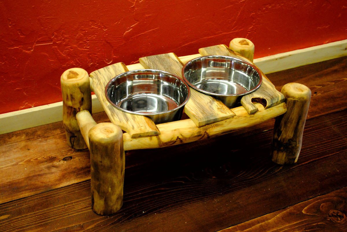 Log Dog Bowl Made From Sustainable Aspen Logs Rustic Furniture From Naturally Aspen 129 00 Via Etsy Rustic Rustic Furniture Dog Bowls