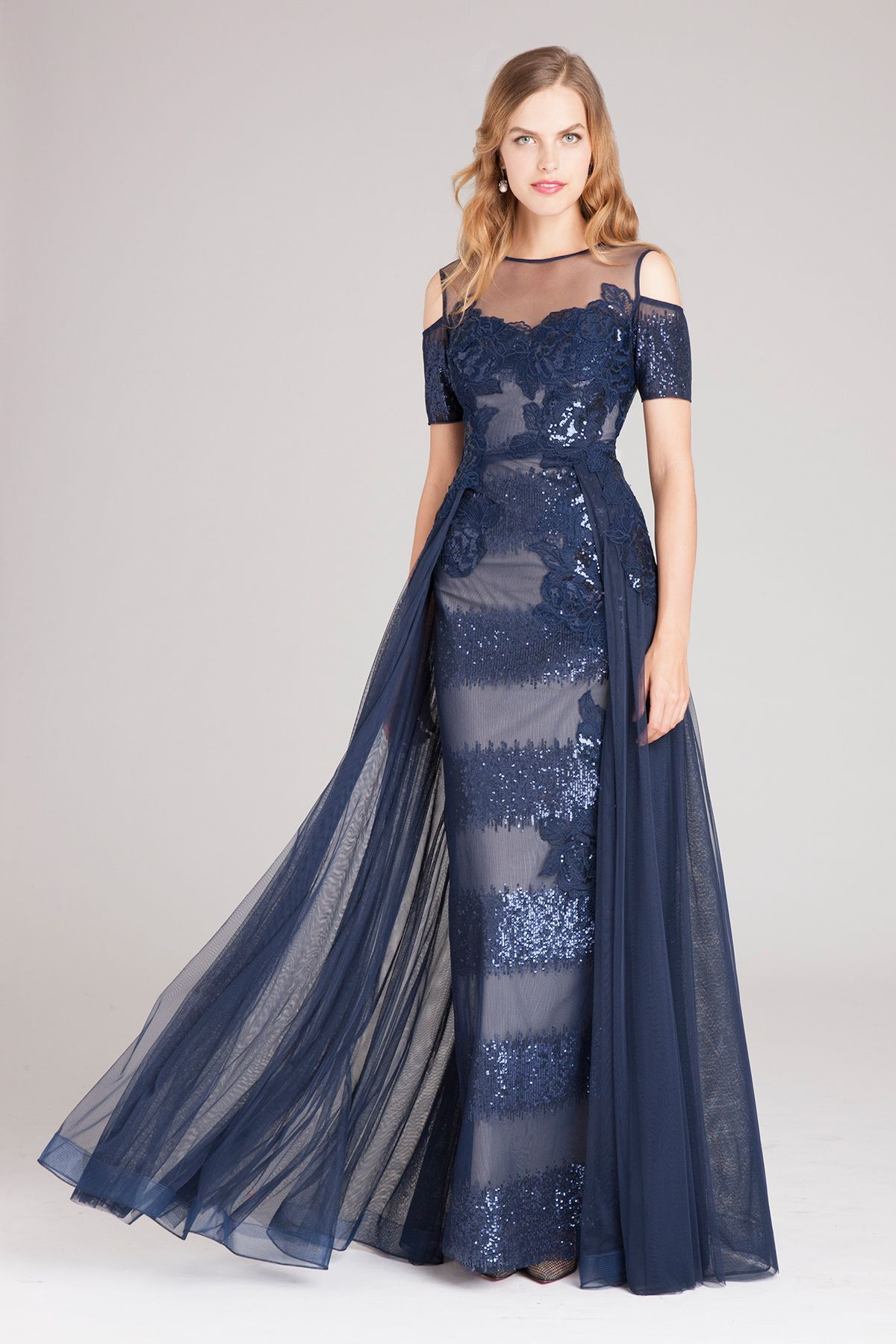 Cold Shoulder Lace & Tulle Gown Teri Jon Fashion