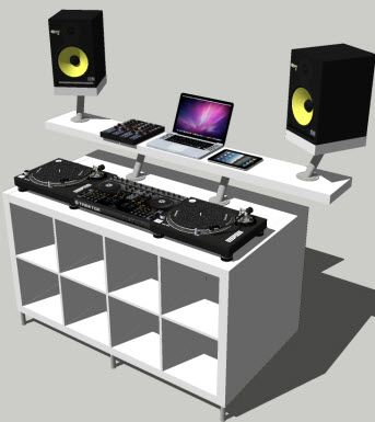 DJ desk constructed by Ikea parts bosh DJ