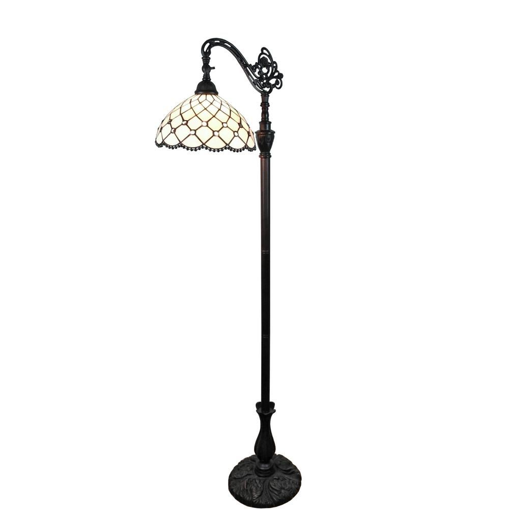 Amora Lighting 62 In Tiffany Style Jewel Reading Floor Lamp Am121fl12 Task Floor Lamp Floor Lamp Reading Lamp Floor