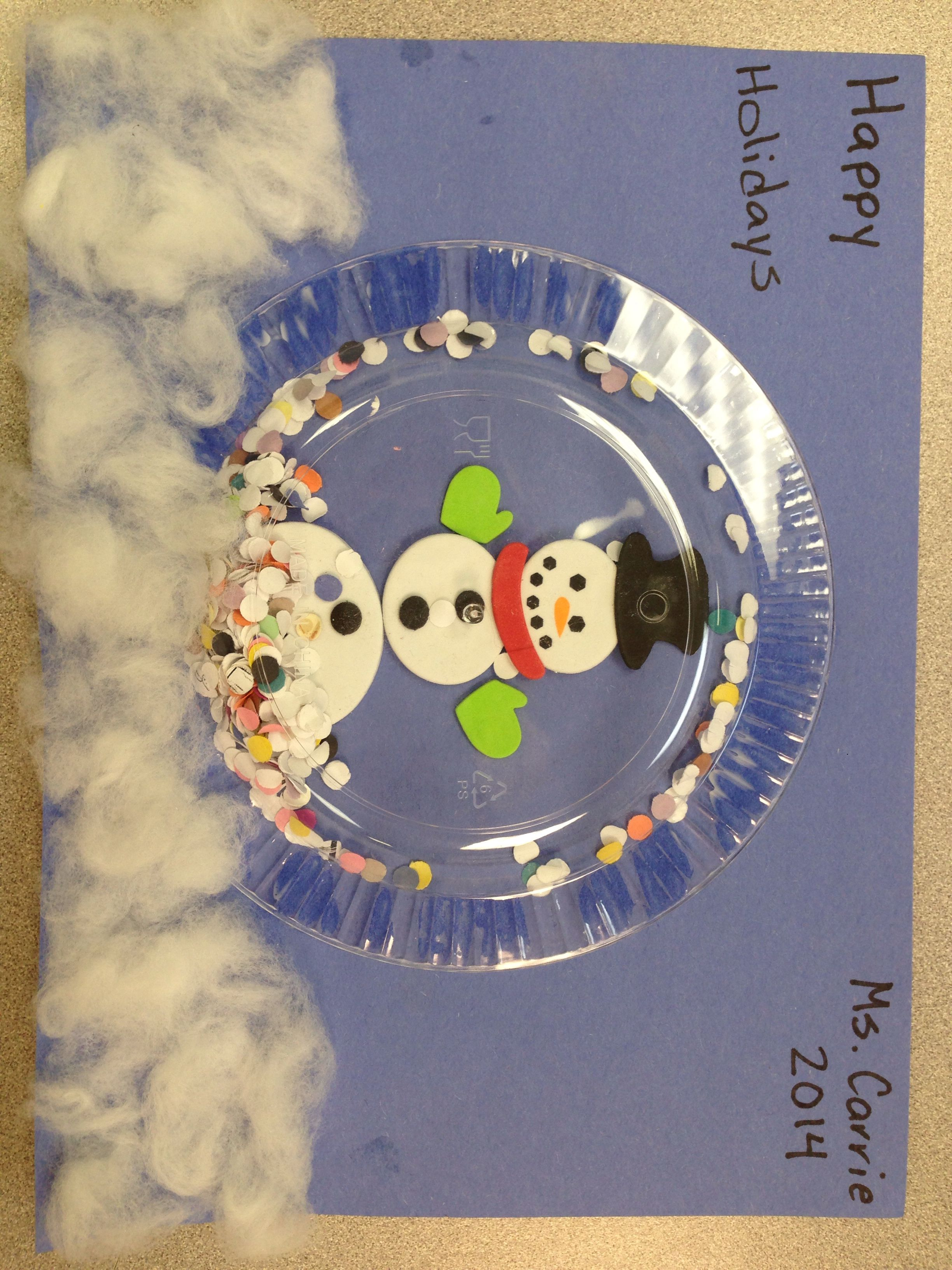 Instructions 6  clear plastic plate foam snowman pieces hole punch collections cotton balls. 1 Glue snowman together and decorate 2 place a small ... & Happy Holidays Snowman Snow globe. Instructions: 6