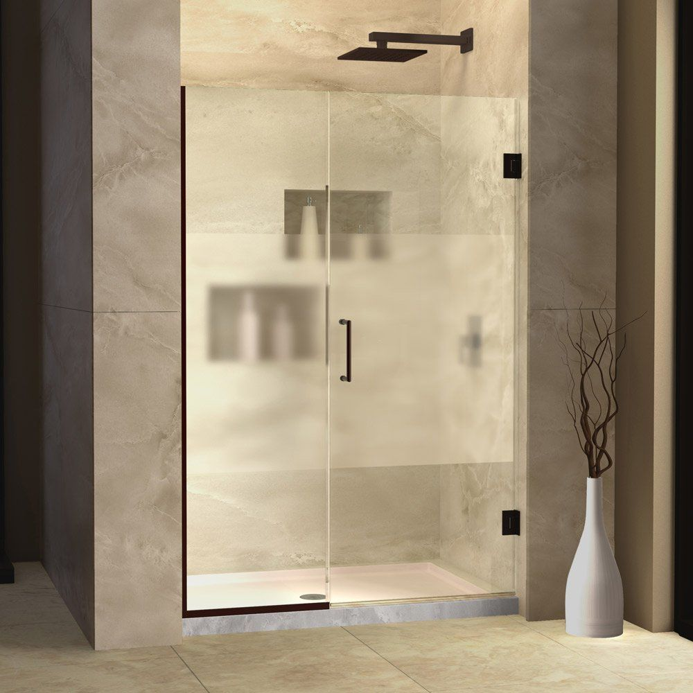 Dreamline Shdr 245207210 Hfr 06 Unidoor Plus Hinged Half Frosted Glass Shower Door 52 Inch Shower Doors Frameless Hinged Shower Door Frameless Shower Doors