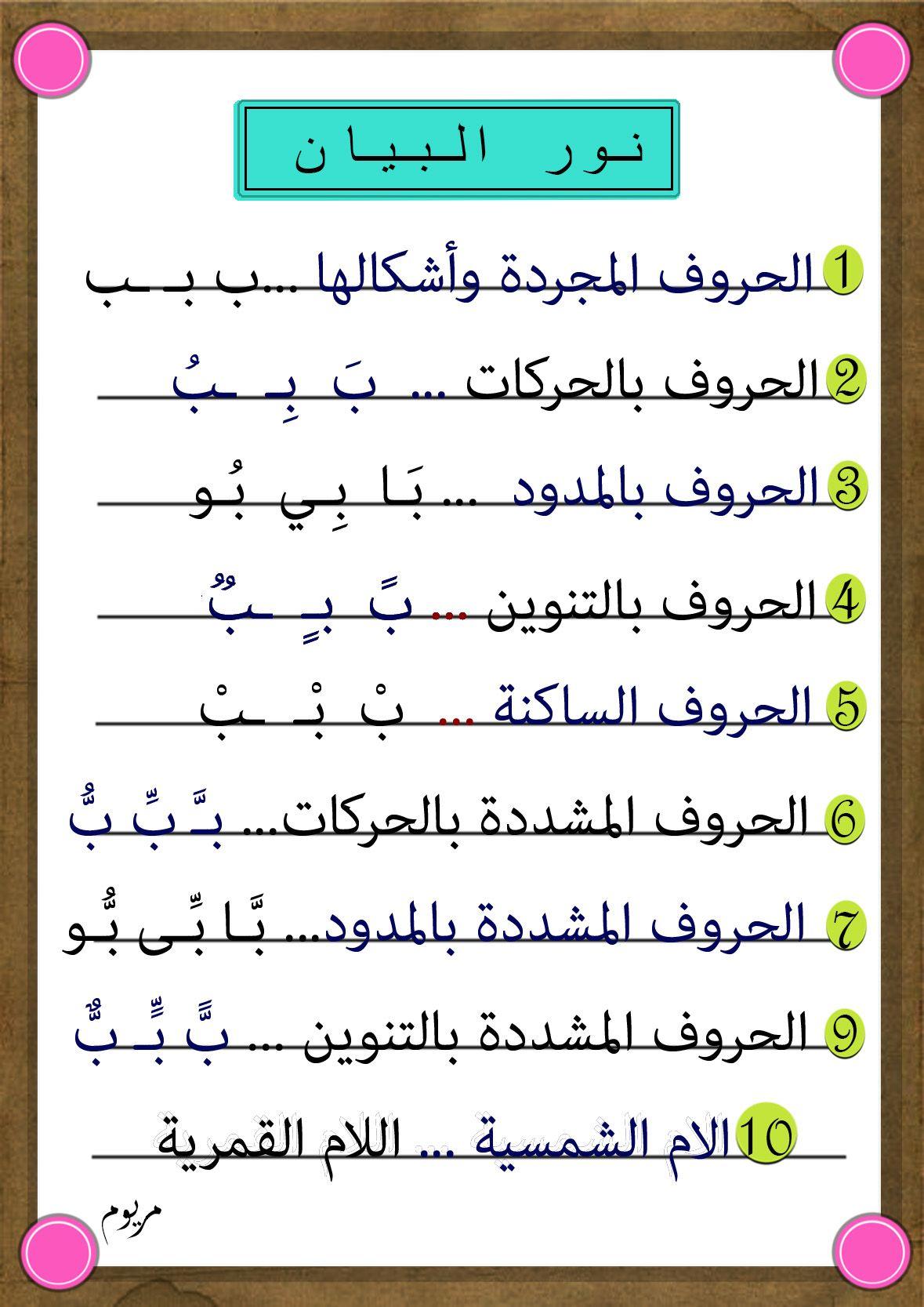 منهج نور البيان | Apprendre l'arabe, Langue arabe et Cours ...