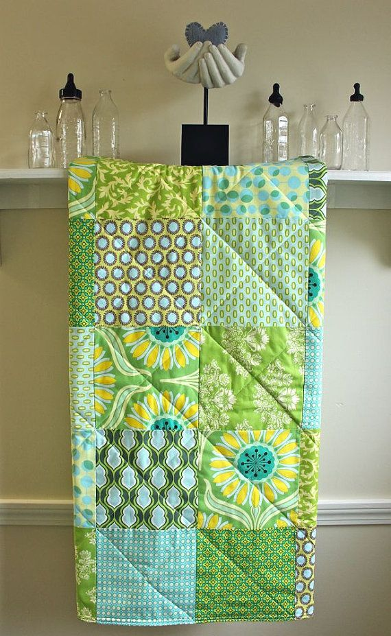 Crib Quilt -  Pop Daisy - Gender Neutral Baby Quilt in Green, Yellow, and Aqua fabrics by Heather Bailey via Etsy