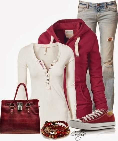Ripped jeans, red stylish cardigan, white blouse, handbag and sneakers 30