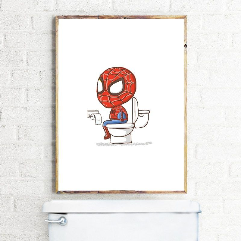 Photo of Spiderman Superhero Pooping Toilet Boys Bathroom Print Wall Art Picture Decor Funny Poster Art Canvas Painting Decorations