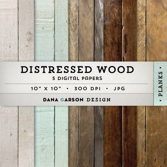 Rustic Wood Digital Paper Set with distressed wood textures, 5 sheets for invites, printing, scrapbooking, blog graphics, clipart, ClipArt on Etsy, $3.00