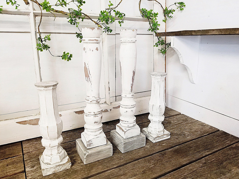 Chunky white candleholders farmhouse candleholders set