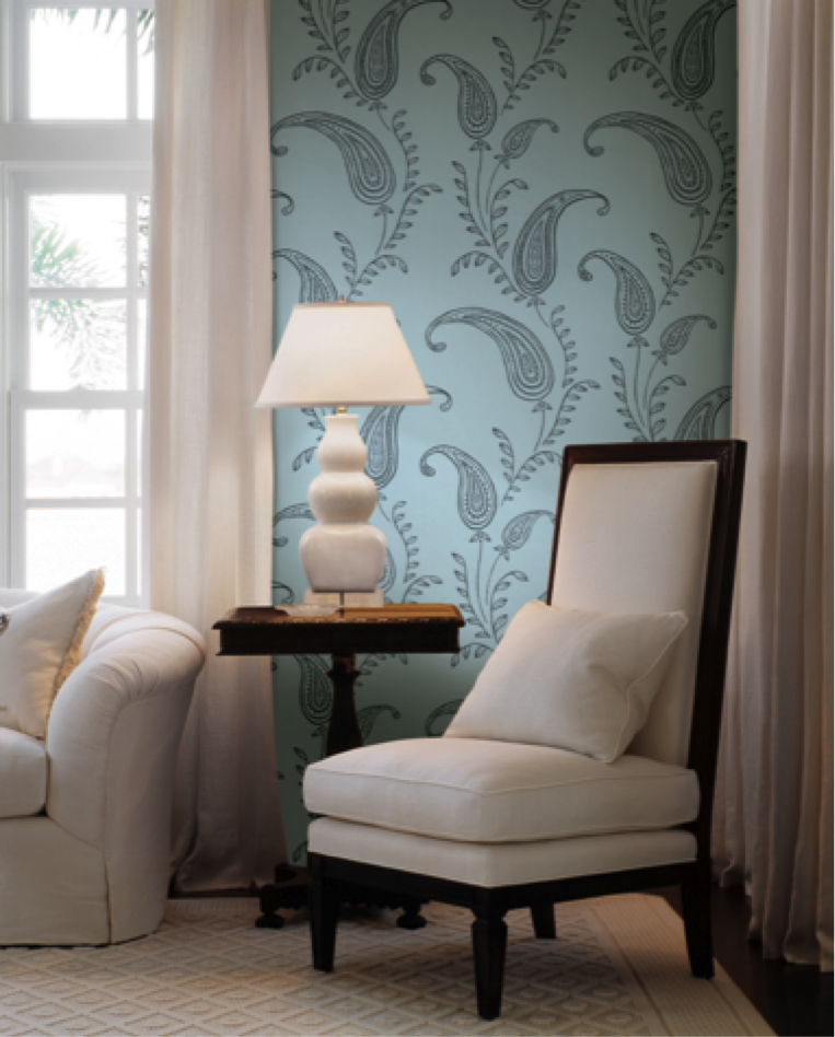 You can use wallpaper in any space to liven it up and show off your furniture and accessories. Get this pattern from the HGTV HOME™ by Sherwin-Williams collection.