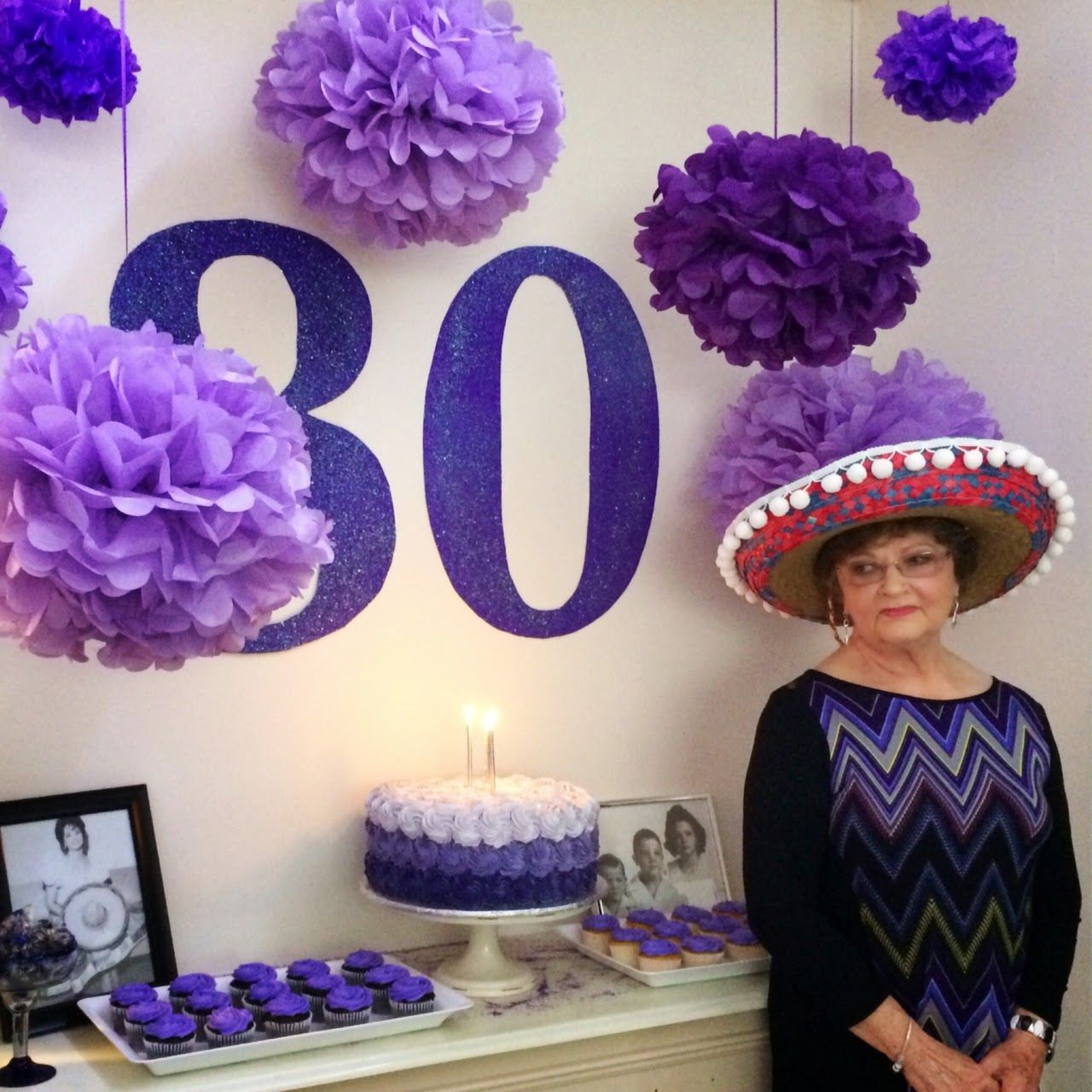 80th Birthday Party Party Decorations Purple Birthday Purple Decorations Purple Pom Pom