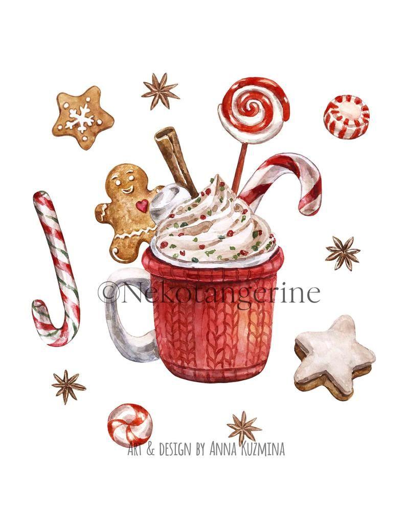 Christmas Hot Cocoa Mug Chocolate Png Watercolor Red Cup Etsy Hot Chocolate Card Watercolor Red Holiday Illustrations