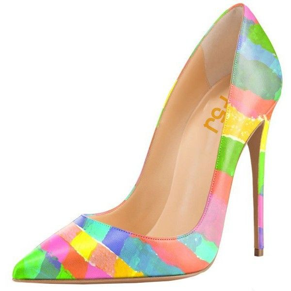 45d02a7f17ae Women's Spring Rainbow Colors Pencil Heel Pumps ($60) ❤ liked on Polyvore  featuring shoes, pumps, heels, rainbow pumps, heel pump, rainbow heels shoes,  ...