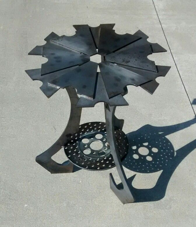 Table made from frame inserts and a rotor | Motorcycle Part Art ...