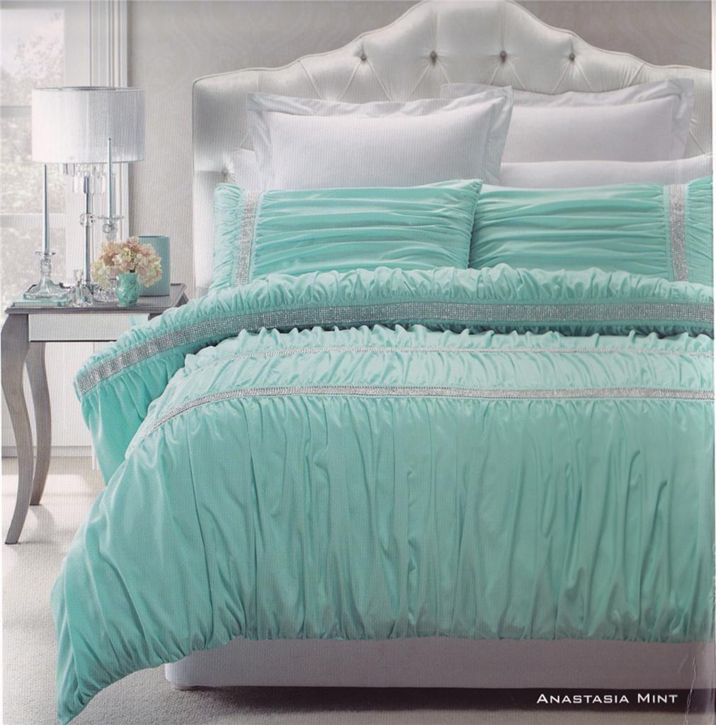 Anastasia Mint Aqua Embellished Soft Feel Queen King Quilt