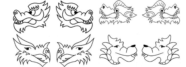 Chinese New Year Dragon Head Coloring Pages