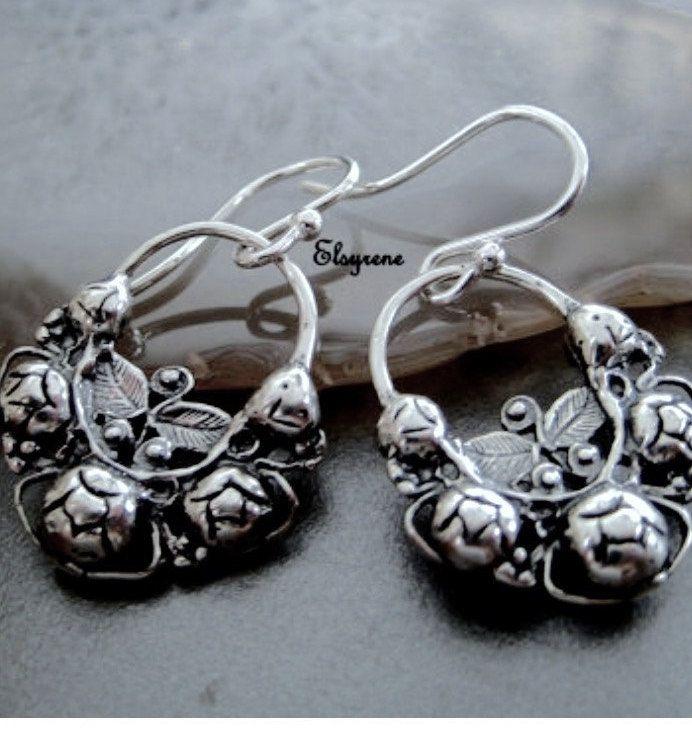 Mexican Rose Hoops Earrings Jewelry Mandala Silver Arracadas