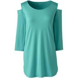 Langes Cut-out-Shirt aus Baumwolle/Modal - Grün - 40-42 von Lands' End Lands' EndLands' End #hairpiecesforwedding