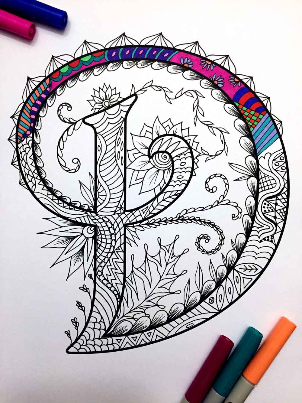 Letter D Zentangle Inspired By The Font Etsy Coloring Pages Zentangle Zentangle Patterns