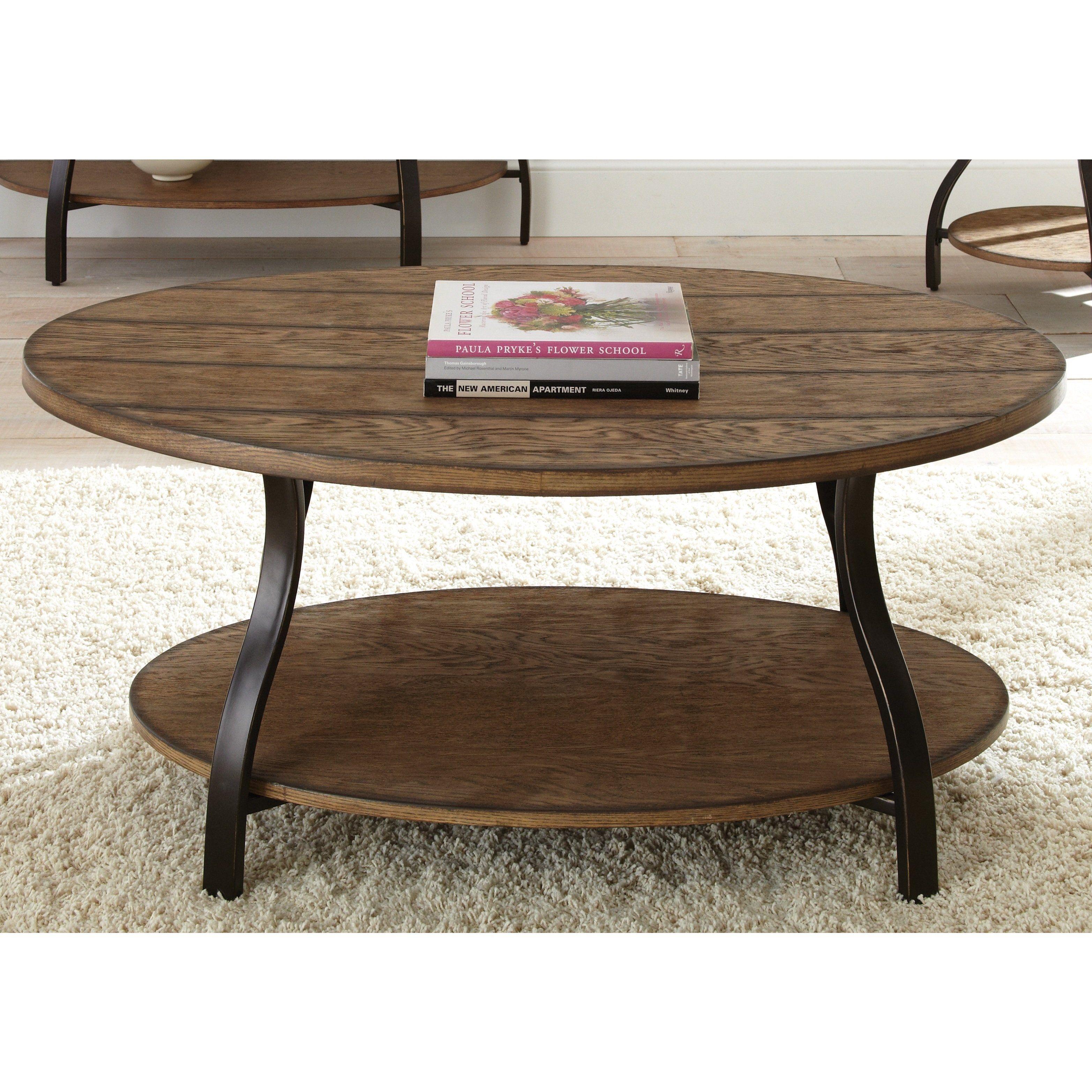 The Gray Barn Abernathy Oval Wood And Metal Coffee Table 21 H X